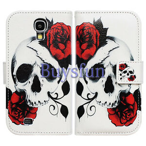 Bcov-Red-Floral-Skull-Leather-Wallet-Case-for-Samsung-Galaxy-S4-GS4-i9500