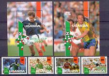 Fußball-WM 1990, Soccer - Uganda - 807-810, Bl.118-119 ** MNH