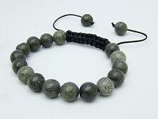 Russian Serpentine Men's Shamballa bracelet all 10mm  round NATURAL stone beads