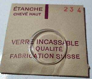 Verre-de-montre-suisse-bombe-plexi-diametre-234-Watch-crystal-vintage-NOS