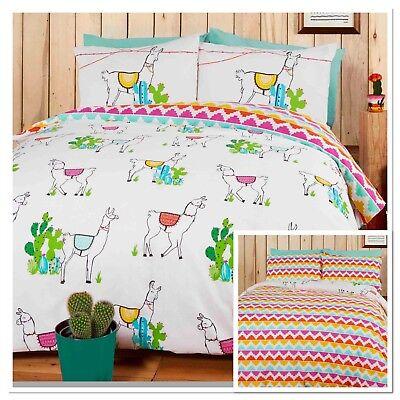Rapport Happy Llamas Cactus Reversible Zig Zig Multi Duvet Cover Bedding Set