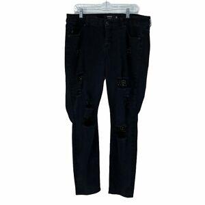 Torrid Premium Women's Plus Size 18 Black Destroyed Studded Denim Jeans Skinny