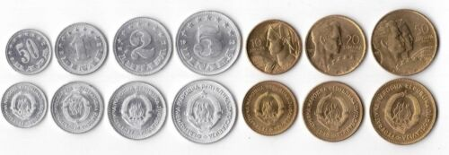 0.5-50 DINARA 1952-55 YEARS SOCIALISM ERA 7 DIF UNC COINS SET YUGOSLAVIA