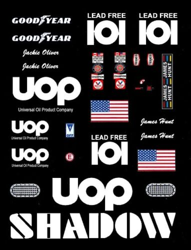 #101 UOP Shadow Can Am James Hunt  Jackie Oliver 1//64th HO Scale Slot Car Decals