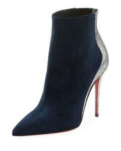 save off f9970 ebef2 Details about Christian Louboutin DELICOTTE Suede Glitter Bootie Boots Heel  Navy Silver $1195