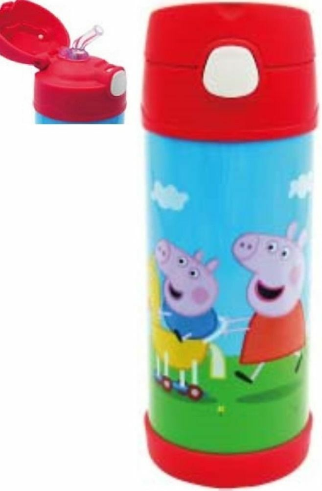 Peppa Pig Vacuum Insulated Straw Water Bottle Stainless Steel Thermos Flask Kids