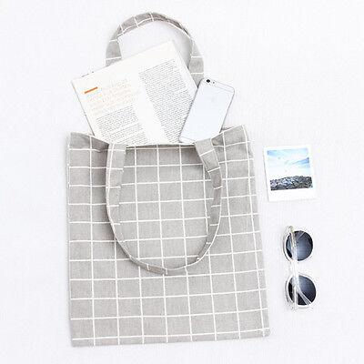 Women's Cotton Plaid Print Canvas Tote Shopping Bag Totes Bag Large Shoppers