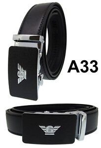 Men Automatic Ratchet Click Lock Black Belt G Buckle Genuine Leather Style A57