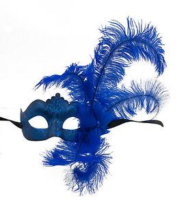 Maschera Di Venezia Per Piume Struzzo Blu Columbine Per Punta Autentica 1425 VG9