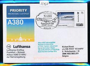 """99437) Lh A380 Sf Baptême Frankfurt - """"bruxelles"""" 15.4.2013 Plusbrief Individuellement-afficher Le Titre D'origine Qualité SupéRieure (En)"""