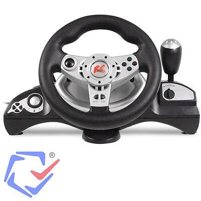 lenkrad bremspedale pedale steering wheel vibration feedback f r pc ps2 ps3 usb ebay. Black Bedroom Furniture Sets. Home Design Ideas