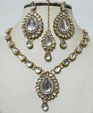 Designer Antique Gold Plated Kundan Diamonds Necklace Earring Tika Jewellery Set