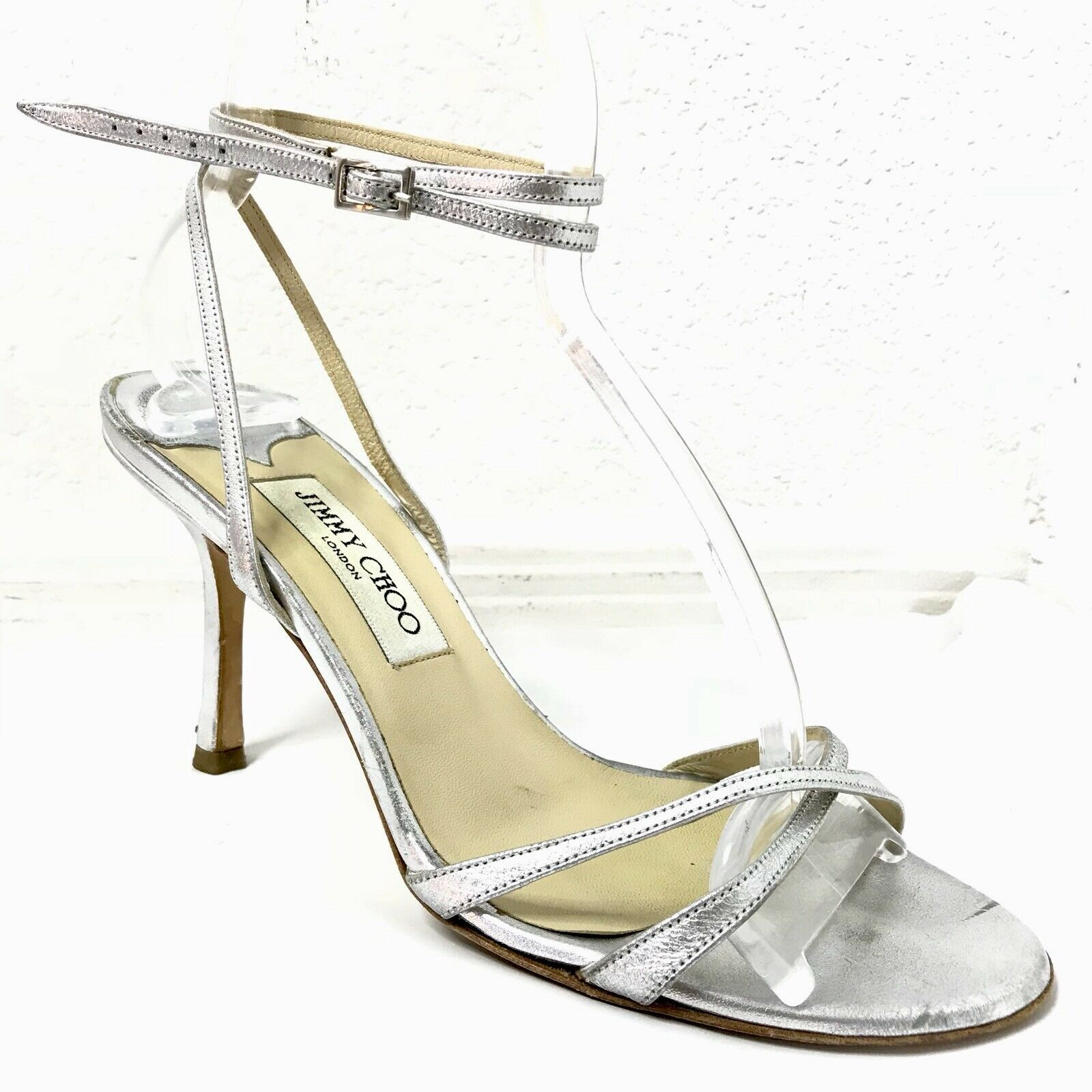 Jimmy Choo Tacones Sandalias para mujer mujer mujer de plata 38.5 8.5  ordenar ahora
