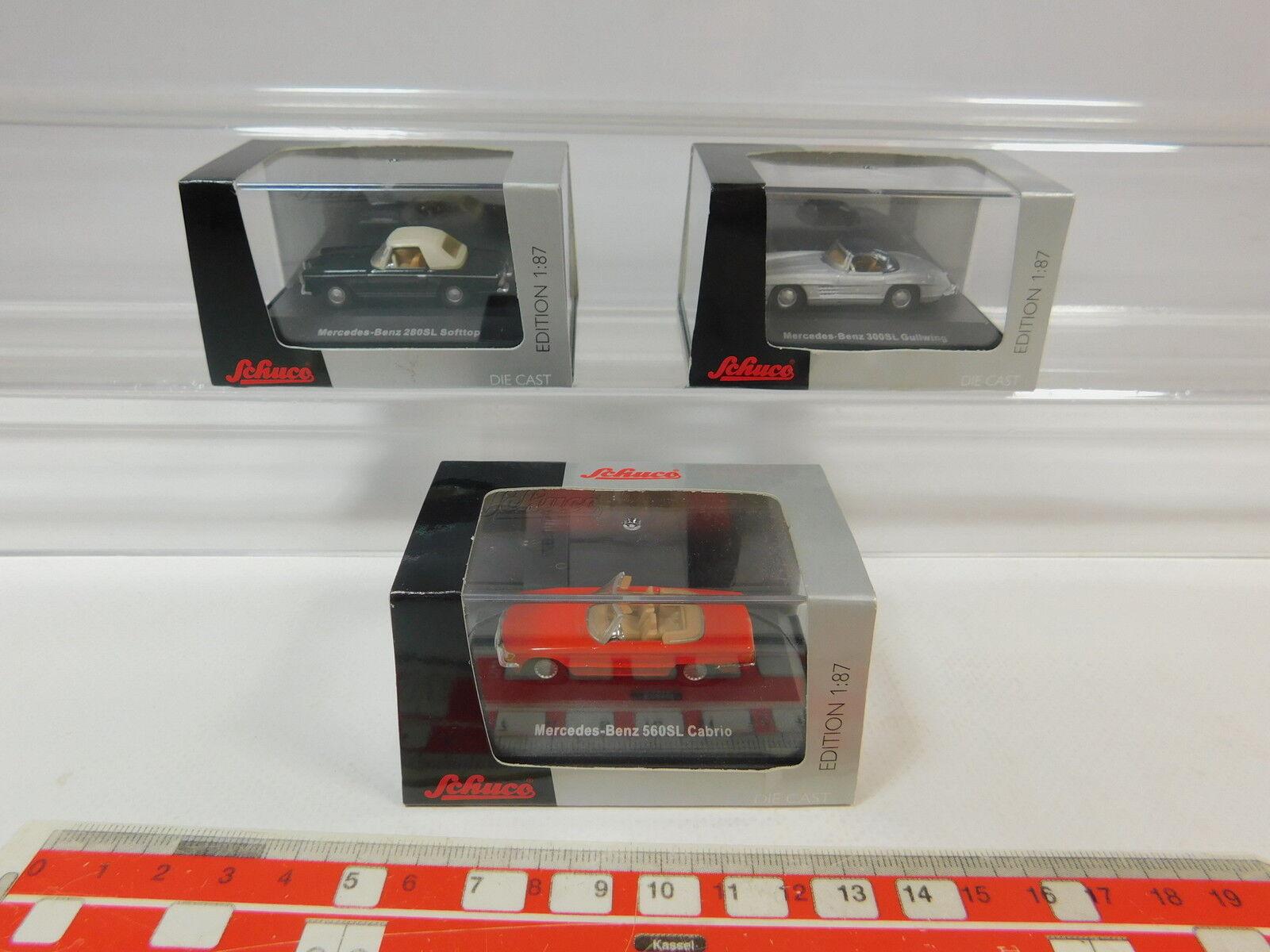 AR588-0,5 x Schuco H0 Car Mercedes-Benz 500SL +280SL Softtop etc. Mint +