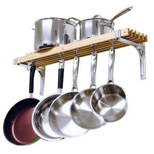 Details about 36in Kitchen Pot Rack Wooden Wall Mounted Shelf Hooks Pots  Pans Organizer Holder