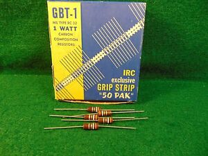 1 5 Pack Carbon Comp 3.9 MEG OHM 1 Watt 5/% Resistors NOS