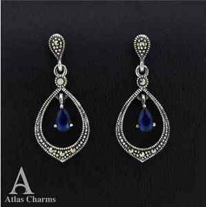 Marcasite Blue CZ Sapphire Earrings Sterling Silver Drop Stud Jewellery Gift Box - <span itemprop=availableAtOrFrom>London, United Kingdom</span> - Marcasite Blue CZ Sapphire Earrings Sterling Silver Drop Stud Jewellery Gift Box - London, United Kingdom