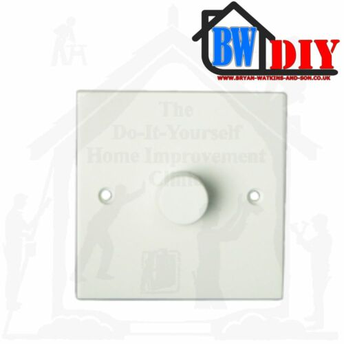 Blanc Moulé Rotatif Poussoir Lumière Gradateur Interrupteurs 1 G /& 2 G 400 W Turn Light Switch