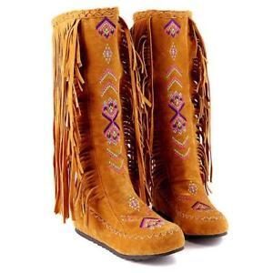 Tassels-Fringe-Womens-flat-round-toe-ethnic-style-Embroidery-Mid-boots-big-size