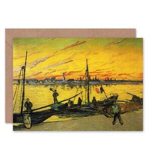 Vincent-Van-Gogh-Coal-Barges-1888-Old-Master-Blank-Greeting-Card-With-Envelope