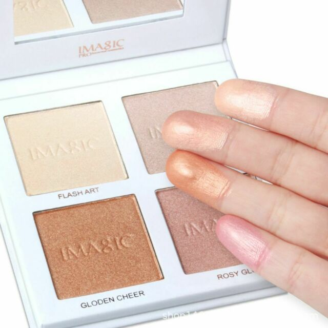 Highlighter Powder Palette Shimmer Contouring Face Bronzer Makeup 4 Colors Good