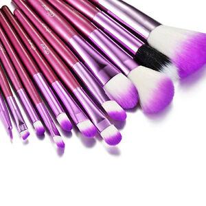 glow purple 12 professional makeup brushes set in