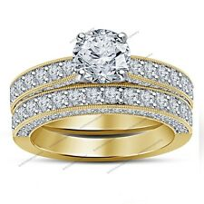 Classic Shank Bridal Wedding Ring Set 925 Silver Bead Set  Sim Diamond 3.81CT
