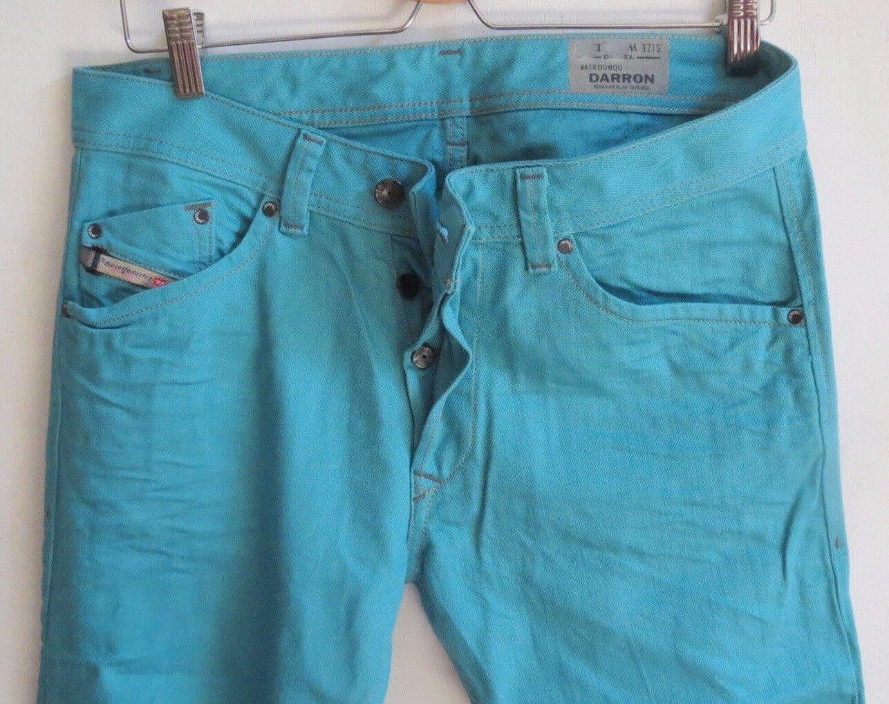 Diesel Men Jeans 33 W x 32 Darron 8QU Teal Regular Slim Brand New with Tags