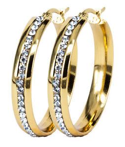 1 Paar Creolen Ohrring Gold 35mm Zirkonia breite rundum Glitzer Creolen funkelnd