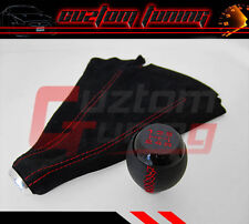 SUBARU IMPREZA LEGACY BLACK LEATHER RED STITCHING SHIFT GEAR KNOB + SUEDE BOOT