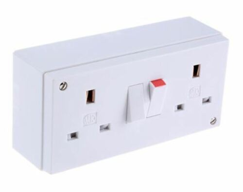 13A MK Electric MK white 2 Gang Switched Power Socket British Type G Surfac