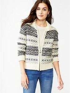 GAP WOMENS FAIR ISLE BOMBER ZIP UP CARDIGAN SWEATER JACKET $79.00 ...
