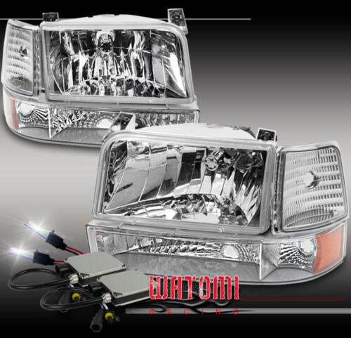 92-96 FORD BRONCO F150//250//350 CHROME CRYSTAL HEADLIGHT+BUMPER+CORNER+10000K HID