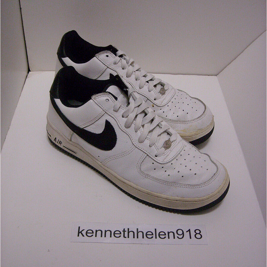 NIKE AIR FORCE 1 B BASKETBALL Chaussures 2001 blanc noir 624040-101 hommes SIZE 10