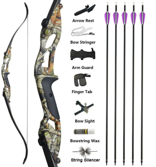 Recurve Bow Take Down Hunting Practice Target Sporting 30-50lbs Camo Black