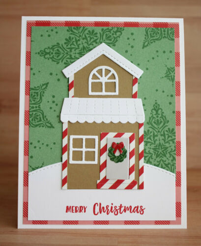 Handmade MERRY CHRISTMAS FROM OUR HOUSE TO YOURS gingerbread house card kit of 4