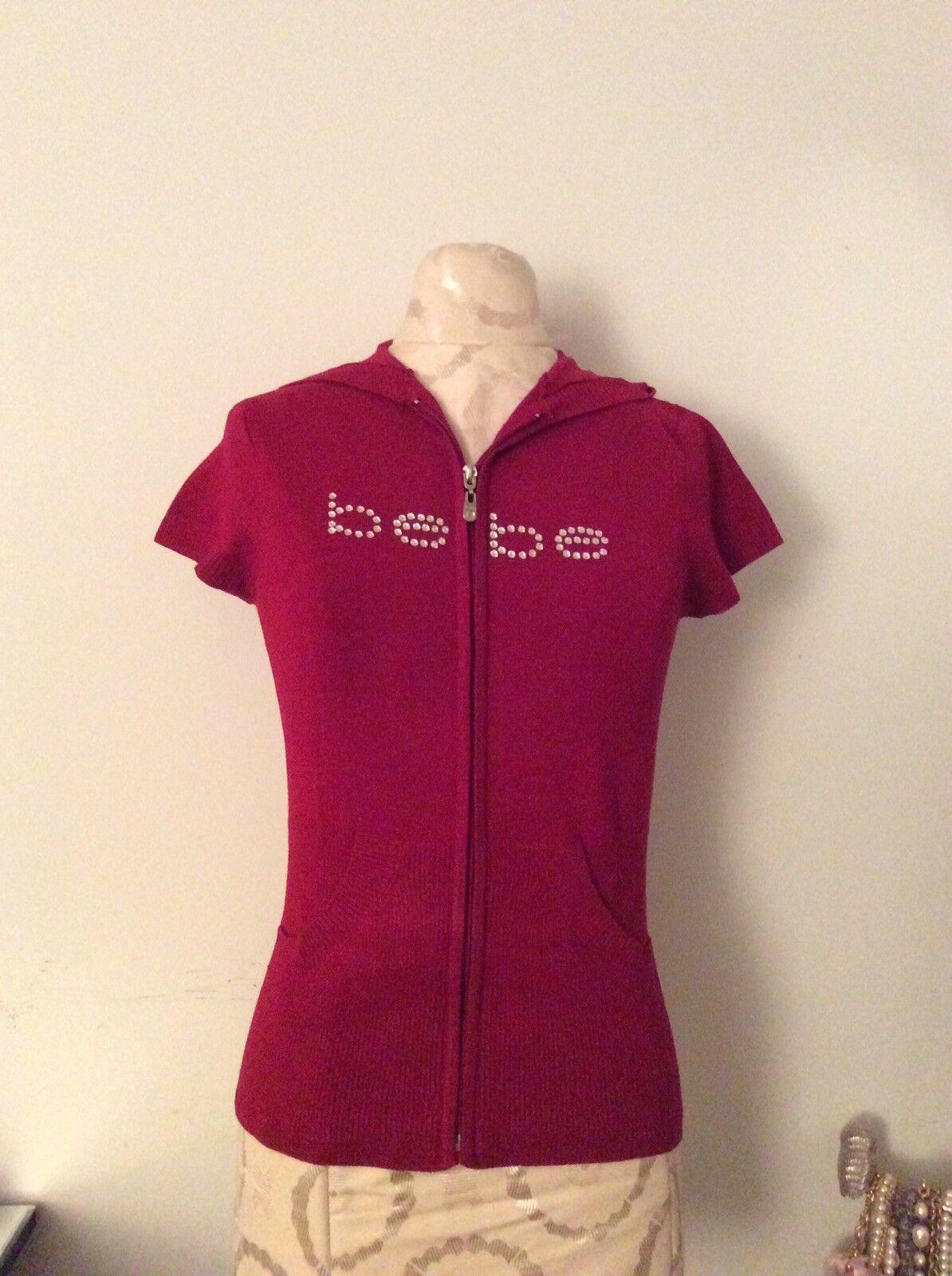 New Bebe Women Red Sweater Bebe Rhinestones Tight Fitting Zip Hoodie SZ L