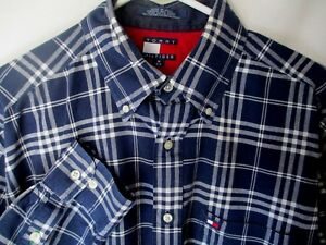 Tommy-Hilfiger-Mens-Med-Madras-Plaid-Shirt-India-Cotton-Blue-White-Long-Sleeve