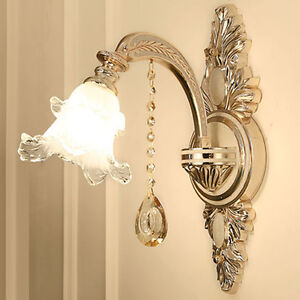 Details About Antique Wall Lamp Gl Shade Crystal Sconce Mirror Bedroom Indoor Lighting