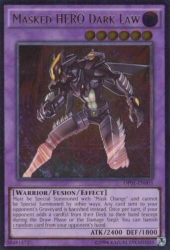 YuGiOh Masked HERO Dark Law - OP01-EN003 - Ultimate Rare - Unlimited Edition Nea