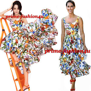 c54d73bfd57 DOLCE   GABBANA Full Skirt Tiered Hem Floral Bamboo Print Cotton ...