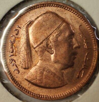 1952 Libya 2 Piastres King Idris BU Coin