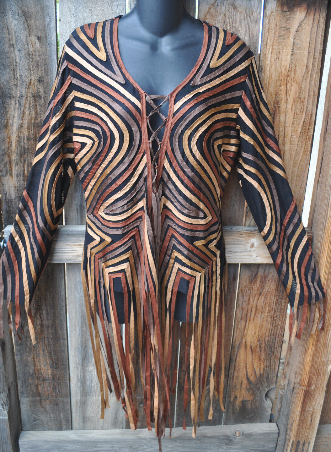 ART TO WEAR BOHO SILK RIBBON LACE FRONT TUNIC TOP IN COPPER BY SIMPLY SILK