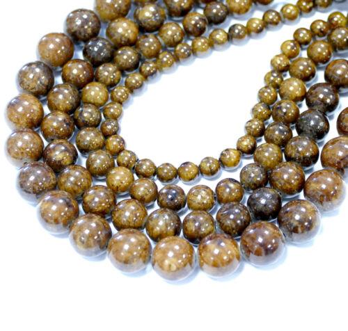 1 Strang BACATUS #2018 Jade Perlen 6-12 mm in brauntönen braune Kugeln
