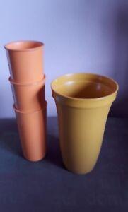 VINTAGE-4-x-TUPPERWARE-Orange-JUICE-TUMBLERS-Cups