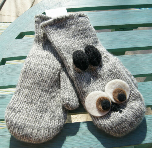 Gray OWL MITTENS knit mens womens ADULT costume HAT SOLD SEPARATE delux NEW