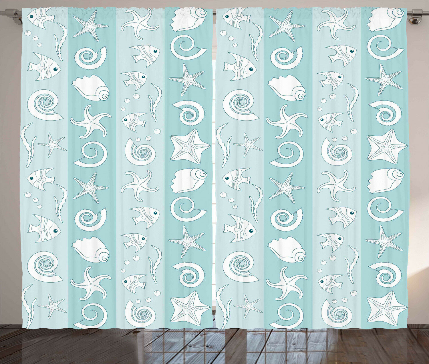 Nautical Curtains Sea Animals and Shells Window Drapes 2 Panel Set 108x63 Inches