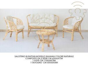 Détails sur Set Salon Jardin Bahama en Rotin Naturel 2 Fauteuils Sofa  Petite Table pour Ar