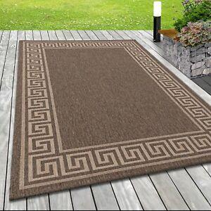 Moderno Tappeto Tessuto Piatto da Interno Meandro Motivo Agave Ottica IN Braun