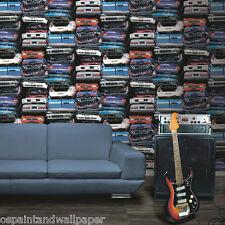 Feature Wallpaper Cars Scrap Yard Boys Room Crushed Modern 3D Effect Vinyl Wacky